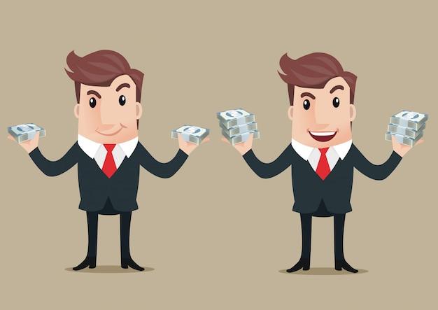 Geschäftsmann hält in der hand dollarbanknoten