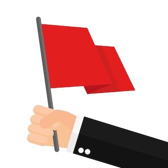 Geschäftsmann hält rote fahne