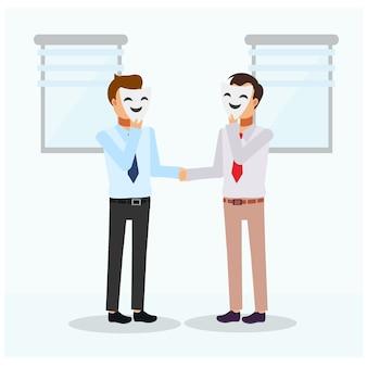 Geschäftsmann händeschütteln mit partner, der sich hinter maske versteckt. unaufrichtig, geschäftskonzeptkarikaturcharakterillustration