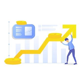 Geschäftsmann halten grafik von steigenden und steigenden gewinnen hoch