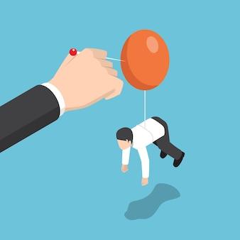 Geschäftsmann hand drückt nadel, um ballon des rivalen zu zerstören. beseitigen sie geschäftsrivalität und wettbewerbskonzept.