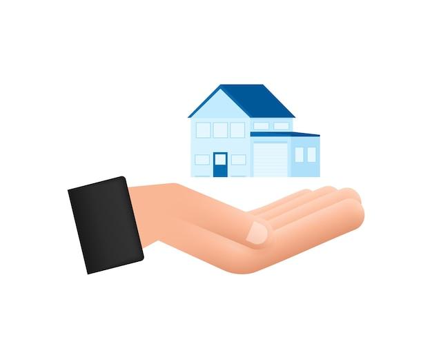 Geschäftsmann hand hält ein haus home mietimmobilien immobilienkonzept vektor-illustration