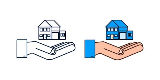 Geschäftsmann hand hält ein haus home mietimmobilien immobilienkonzept
