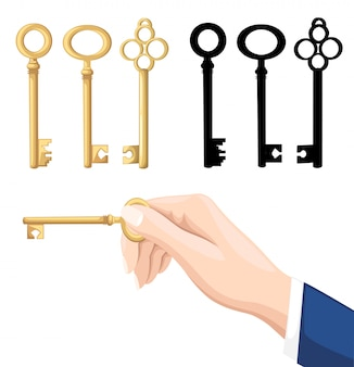 Geschäftsmann hand hält schlüssel. goldene und schwarze schlüssel auf hintergrund. illustration auf weißem hintergrund. webseite und mobile app