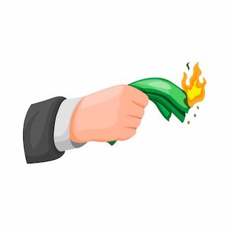 Geschäftsmann hand hält und brennt geld. investitions- und finanzproblemkonzept im karikaturillustrationsvektor isoliert