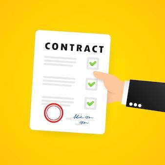 Geschäftsmann hand hält vertrag. vertragsdokument. rechtsdokumentsymbol mit stempel.