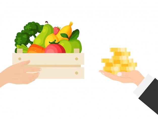 Geschäftsmann hand halten bargeld, goldmünze kaufen lokal angebaute lebensmittel isoliert auf weiß, illustration. erntekorb gemüse obst.