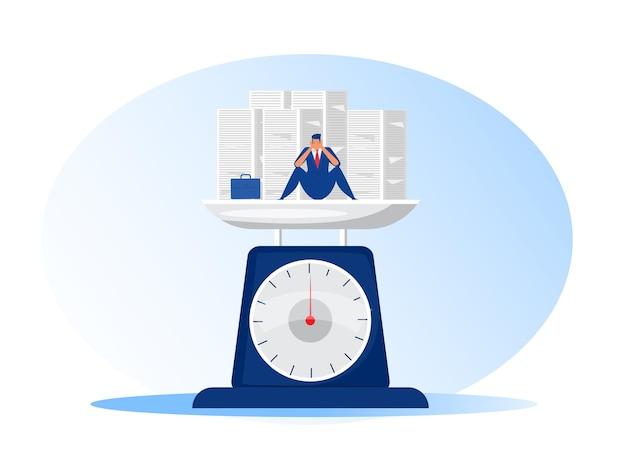 Geschäftsmann harte arbeit im büro und beschäftigter unglücklicher mann und stapel papier