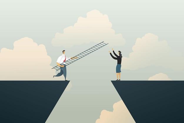 Geschäftsmann hebt die treppe zur geschäftsfrau über riskante situation, die gelegenheit nutzt