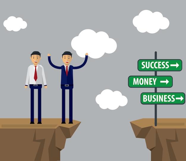 Geschäftsmann-illustration. geschäftsmann trifft entscheidung für erfolg