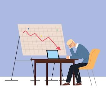 Geschäftsmann im amt in der finanzkrise, wirtschaftliches problemillustrationsdesign