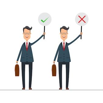 Geschäftsmann im blauen anzug halten richtiges und falsches zeichen