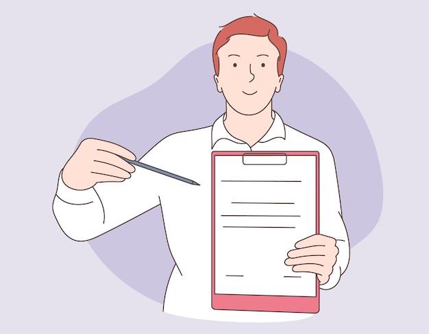 Geschäftsmann im büro anzug hält ein dokument, in dem alle genehmigt