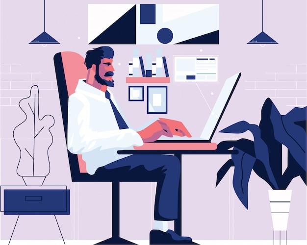 Geschäftsmann im büro, das am laptop arbeitet. flache illustration