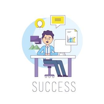 Geschäftsmann im büro mit computerinformationsstrategie