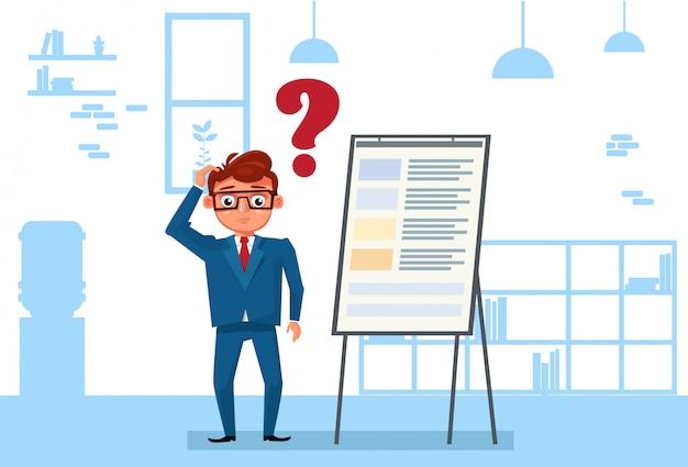 Geschäftsmann im büro-stand über flip chart pondering and thinking