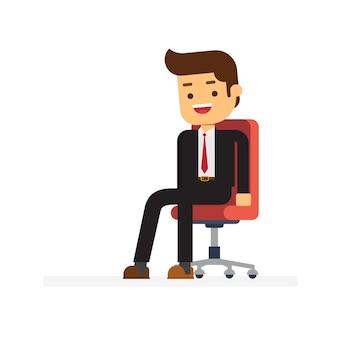 Geschäftsmann im bürostuhl sitzen