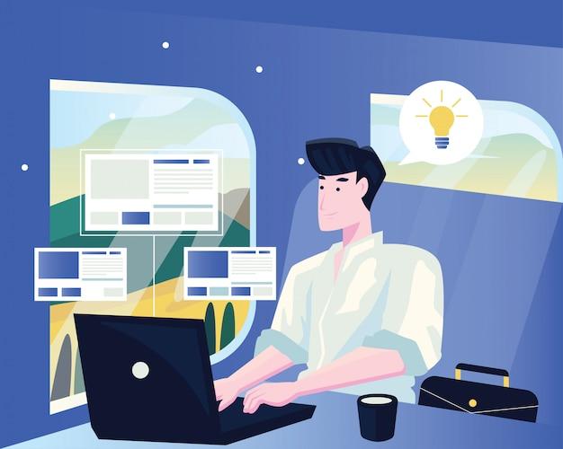 Geschäftsmann im zug, der am laptop arbeitet. flache illustration