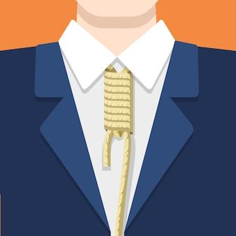 Geschäftsmann in anzughemd und seilbindung auf orange hintergrund. flache artillustration des geschäftskonzepts. knoten fesselt am hals des mannes.