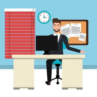 Geschäftsmann in arbeitsbereich isoliert icon design