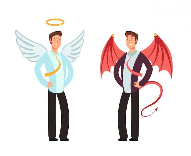 Geschäftsmann in der engels- und dämonklage. vektorzeichen für auserlesenes konzept der guten und schlechten weise