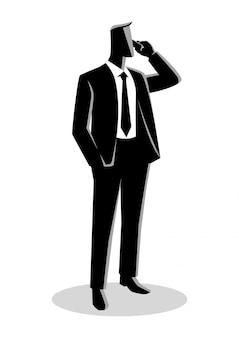 Geschäftsmann in der gesellschaftsanzugstellung während am telefon