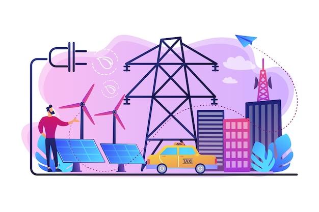 Geschäftsmann in der grünen stadt und im elektroauto, das alternativen kraftstoff verwendet. alternative brennstoffe, chemisch gespeicherter strom, konzept nicht fossiler quellen.