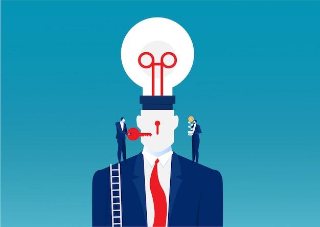 Geschäftsmann in einem anzug, der eine glühbirne auf oberem kopf menschliches änderungsideenkonzept hält