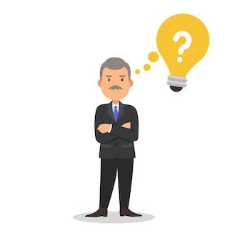 Geschäftsmann in einer denkenden karikaturillustration der klage