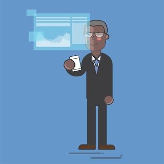 Geschäftsmann in einer digitalen präsentation