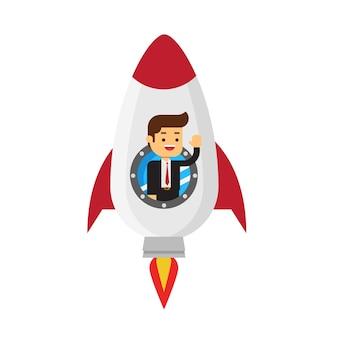 Geschäftsmann in einer rakete