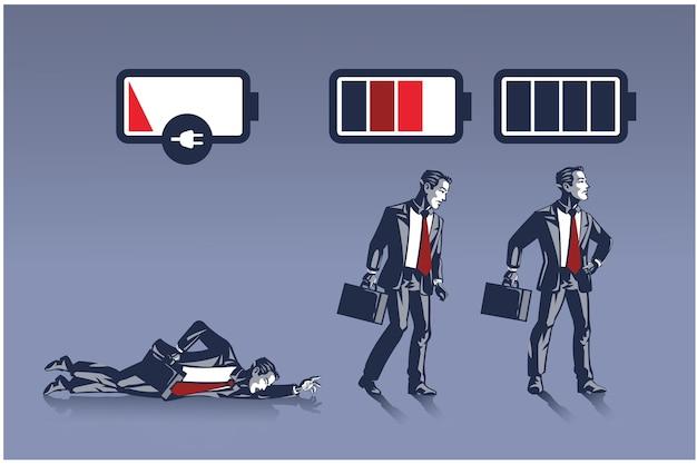 Geschäftsmann in unterschiedlichem energieniveau, dargestellt als batterielebensdauer-geschäftsillustrationskonzept
