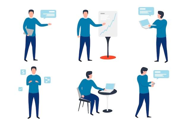 Geschäftsmann in verschiedenen arbeitssituationen - chat, präsentationen, bremse, vertrauen