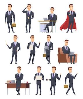 Geschäftsmann in verschiedenen situationen und positionen festgelegt