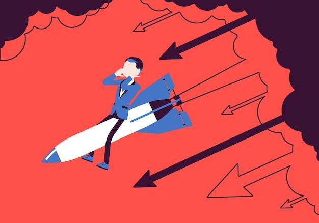 Geschäftsmann in verzweiflung gehen auf rakete runter. existenzgründung, unternehmensneuprojekt scheitert, finanzielle fehler. problemlösung, risikomanagementkonzept. vektorillustration, gesichtslose charaktere