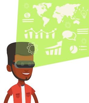 Geschäftsmann in vr brille, die virtuelle daten analysiert