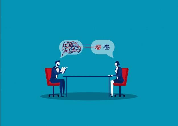 Geschäftsmann interview mit manager mit haben über ihre haltung notiert. illustration.