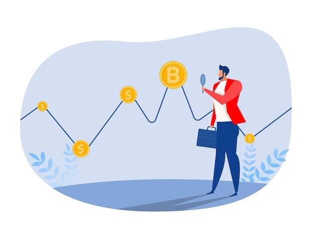 Geschäftsmann-investor-uhr zur finanzierung von bitcoin-grafikdaten-börsenhändlern-konzept-vektor-illustration.