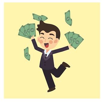 Geschäftsmann ist mit viel geld glücklich. sieger-prämie. geschäftskonzept-zeichentrickfilm-figur-vektor.