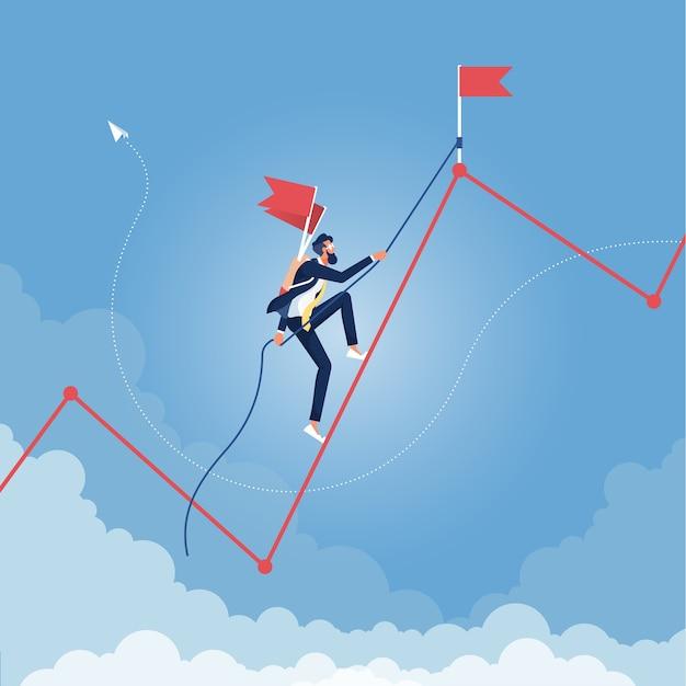 Geschäftsmann klettert grafik hoch. führung, erfolg, wachstum, karrierekonzept