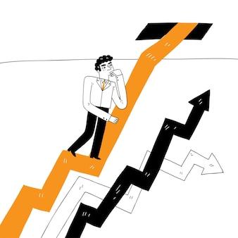 Geschäftsmann klettert graphenlinie, geschäftskonzept, erfolg, herausforderung, risiko
