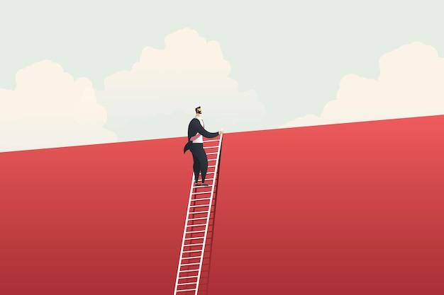 Geschäftsmann klettert leiter für visionschancen, herausforderung und lösung