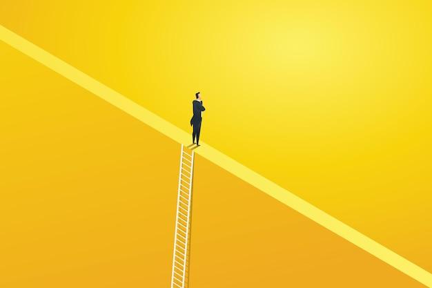 Geschäftsmann klettert leiter für visionsmöglichkeiten und leistungsherausforderung