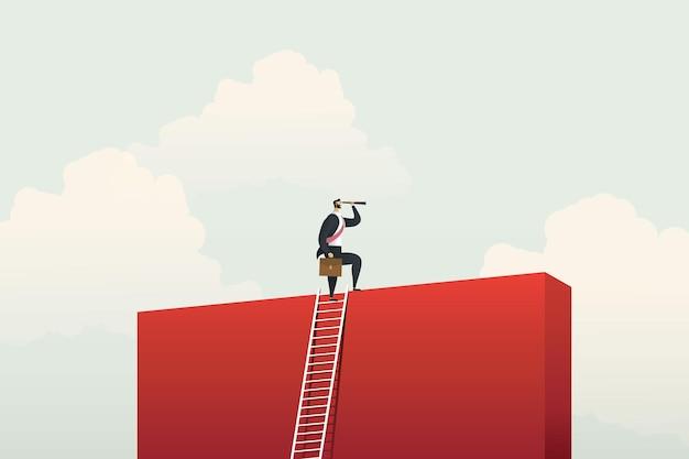 Geschäftsmann klettert leiter für visionsmöglichkeiten