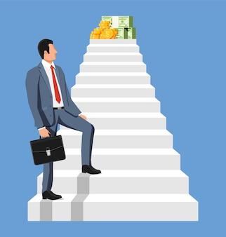 Geschäftsmann klettert leiter zum geld hinauf. ziele setzen. intelligentes ziel. geschäftsziel. leistung und erfolg. konzept des erfolgskarrierewachstums. leistung und ziel. flache vektorillustration