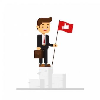 Geschäftsmann kletterte auf einen berg papierdokumente und stellte eine rote fahne mit zeichen daumen hoch