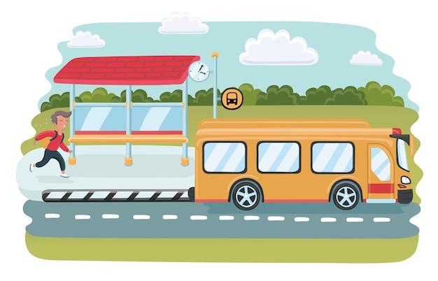 Geschäftsmann kommt zu spät an der bushaltestelle an