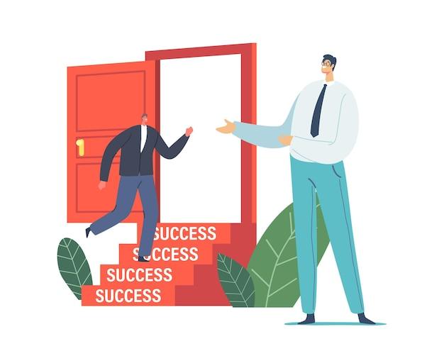 Geschäftsmann laden sie einen anderen geschäftsmann-charakter in formellem anzug ein, die offene tür mit treppe zum erfolg zu betreten. neue arbeitsmöglichkeit, herausforderung, karriereschub, einstellungskonzept. cartoon-vektor-illustration