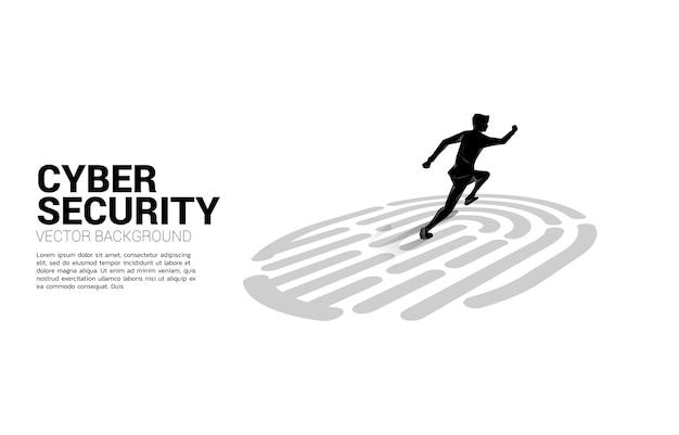 Geschäftsmann läuft auf fingerscan-symbol. hintergrundkonzept für sicherheits- und datenschutztechnologie im netzwerk