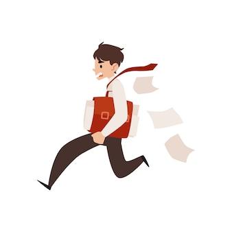 Geschäftsmann läuft, der aktentasche unter arm hält und papierkarikaturstil verliert